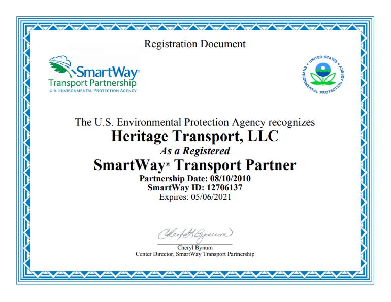 Heritage SmartWay Transoprt Partner 10 year certificate